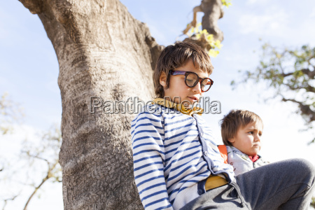 two little boys playing in a