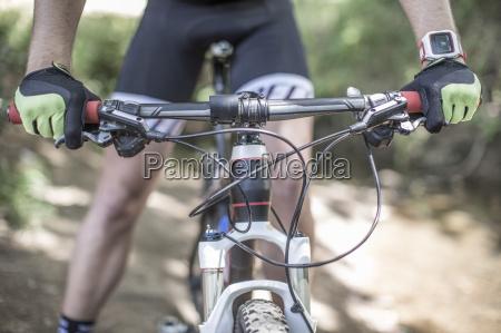 close up of man on mountainbike