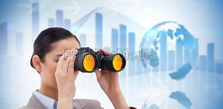 composite image of brunette businesswoman looking