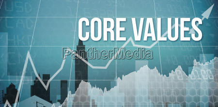 core values against cityscape stencil design
