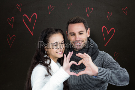 composite image of smiling couple making