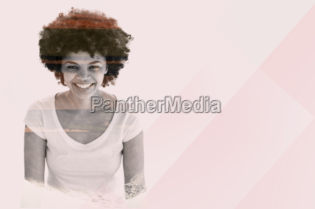 composite image of smiling woman posing