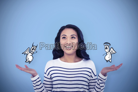 composite image of smiling asian woman
