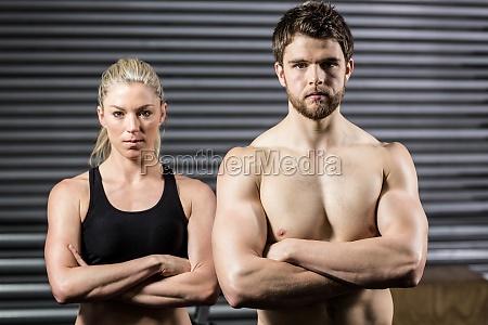 serious crossfit couple posing