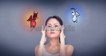 composite image of concerned woman posing