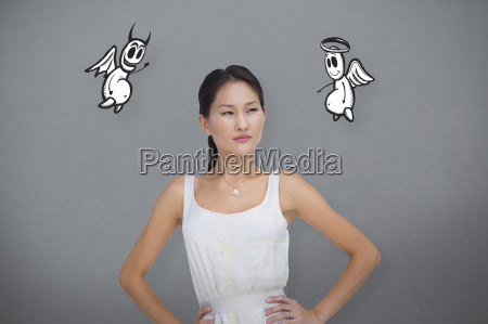 composite image of pensive brunette looking
