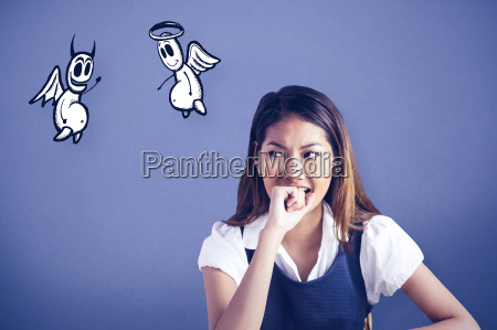 composite image of businesswoman biting her
