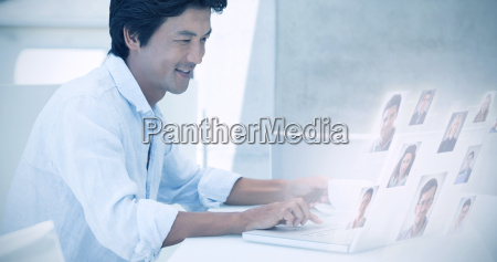 composite image of happy man using