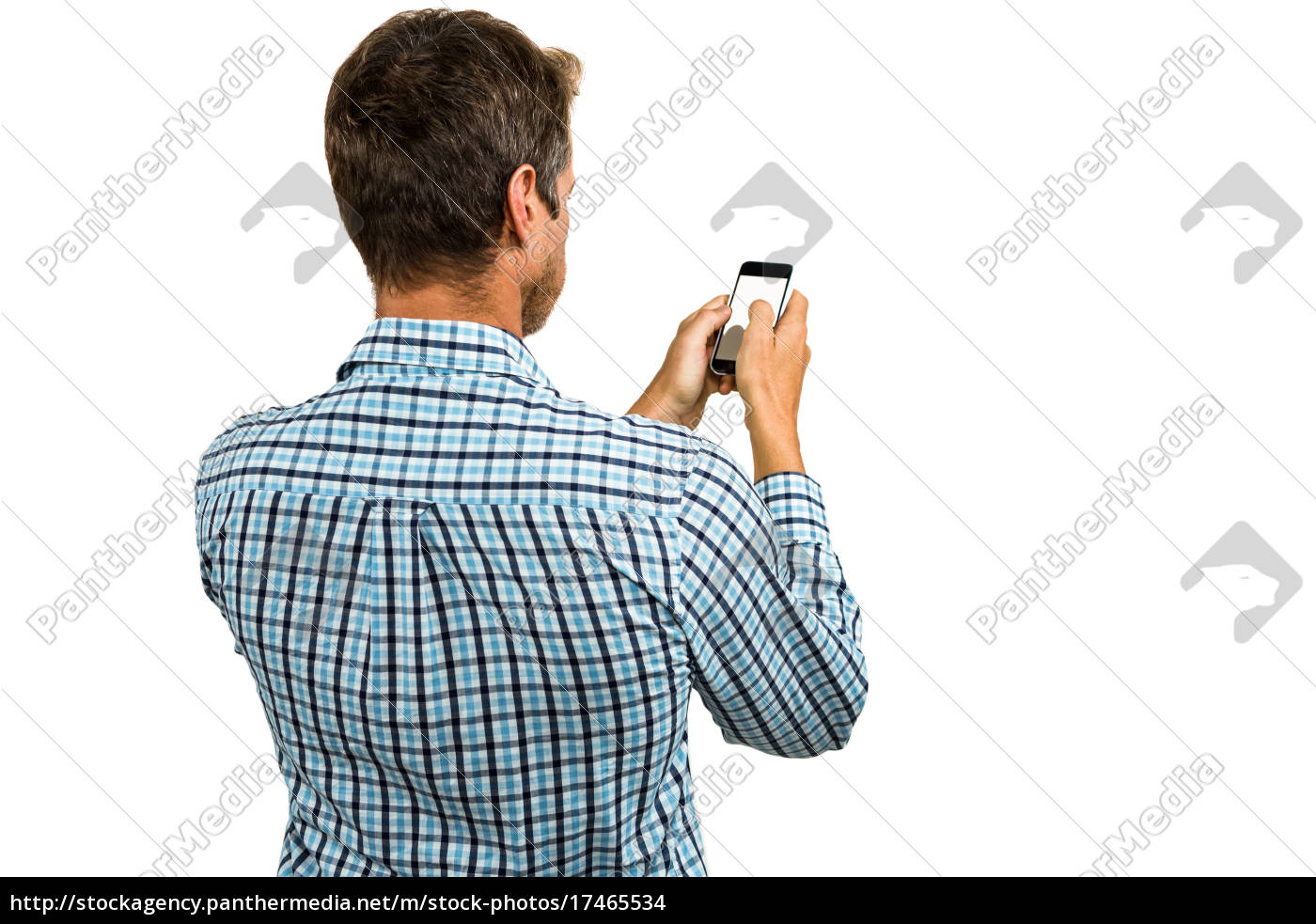 rear, view, of, man, using, smartphone - 17465534