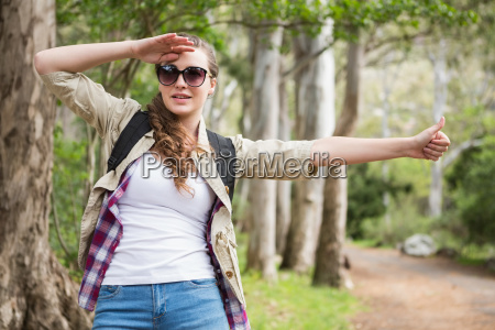 hitch hiking woman