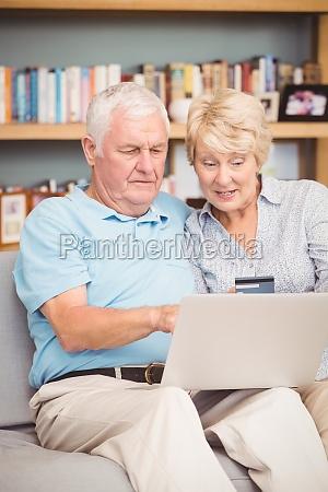 high angle view of senior couple