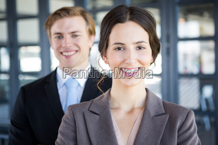 portrait of businessman and businesswoman