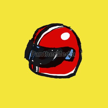 illustration of red helmet against yellow