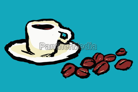 illustration of coffee cup and beans