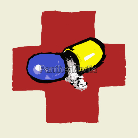 illustration of broken capsule against the