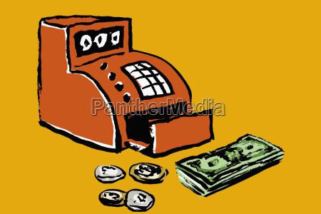 illustration of cash register and money