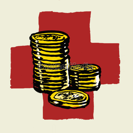illustration of stacked coins against international