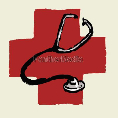 illustrative image of stethoscope against international