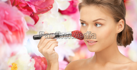beautiful smiling woman with make up