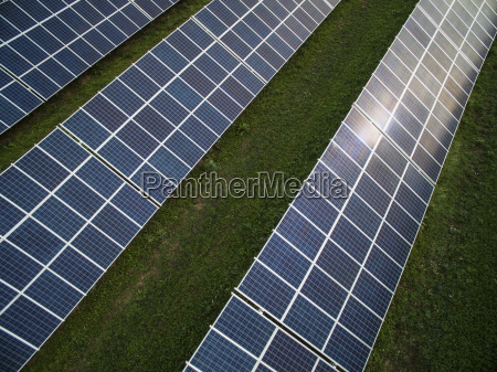 high angle view of solar panels