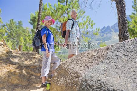 portrait of senior couple on mountain