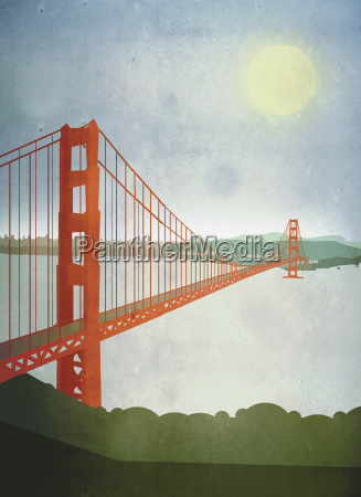 illustration of golden gate bridge over