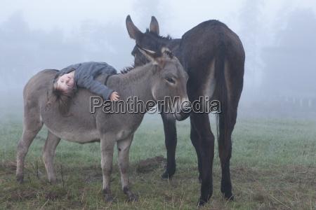 portrait of girl lying on donkey