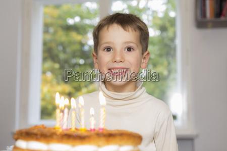portrait of happy birthday boy at