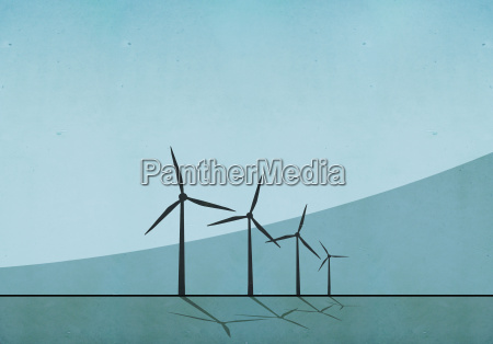 windmills against blue background