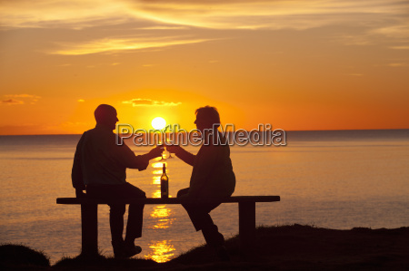 silhouette of couple making a toast