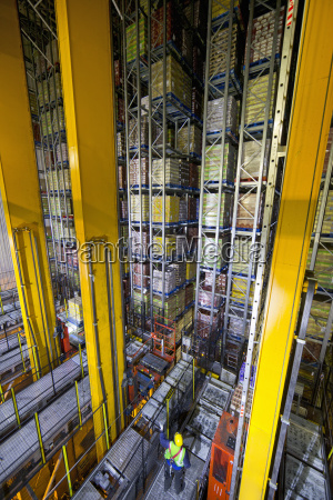 worker below foodstuffs merchandise stored in
