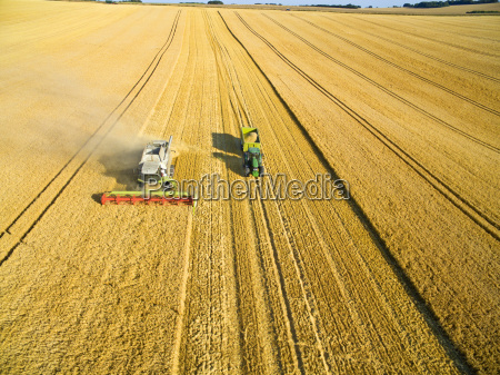 aerial view of combine harvester and