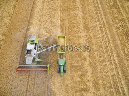 overhead aerial view of combine harvester