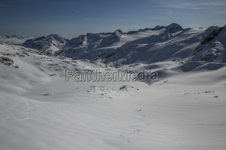 a skier and his perfect tracks