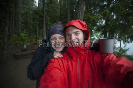a couple take a selfie