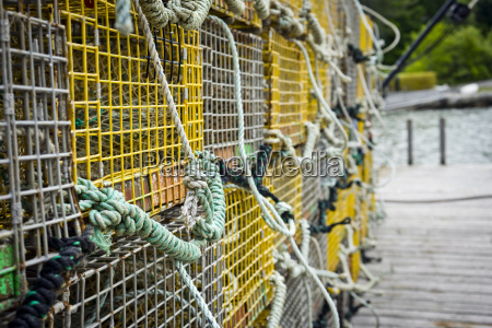 closeup of lobster traps on a