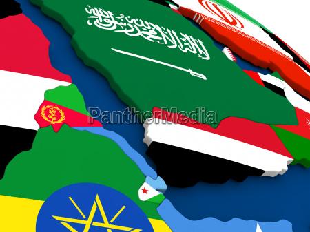 yemen eritrea and djibouti on globe