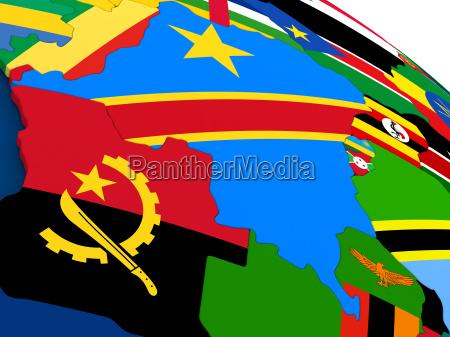 democratic republic of congo on globe