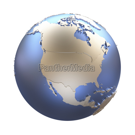 north america on golden metallic earth