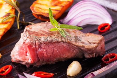 steak in an iron pan