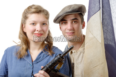 young couple of french resistant to