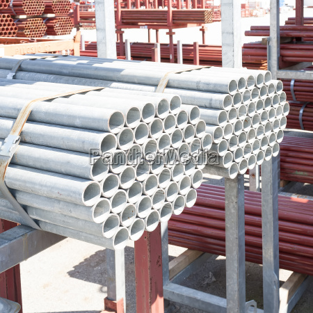 stack of steel pipes for scaffolding