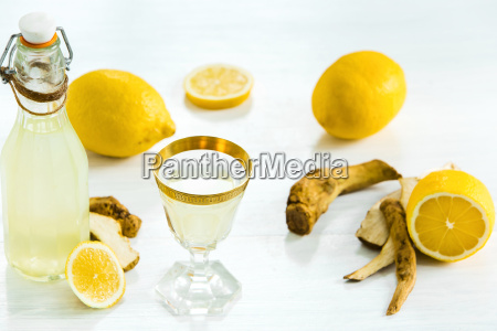 home ginger tincture in a glass