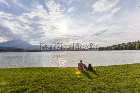couple at lake lucerne