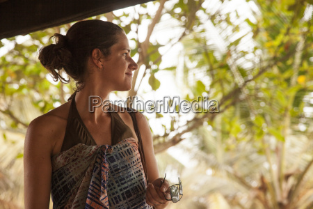 smiling woman at beach camp