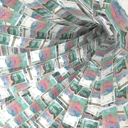 money strudel of 100 swedish crown