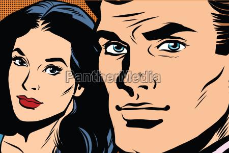beautiful couple man and woman pop