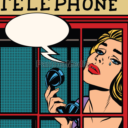 girl crying in the red telephone