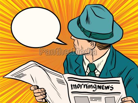 newspaper reader reaction pop art