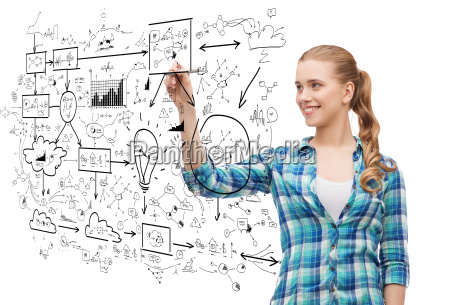 smiling young woman writing on virtual